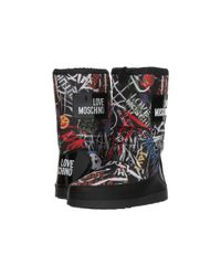 Love Moschino - Grafitti Print Snow Boot (black Graffiti Print) Women's Boots - Lyst