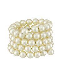 Kenneth Jay Lane - White 4 Row Cultura Pearl 10mm Coil Bracelet - Lyst