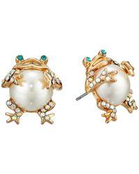 Betsey Johnson - Metallic Pearl Critters Frog Stud Earrings (pearl) Earring - Lyst