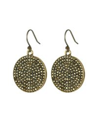 Lucky Brand - Metallic Gold Pave Disk Earring - Lyst