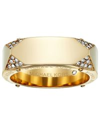 Michael Kors - Metallic Brilliance Logo And Pave Banded Ring - Lyst