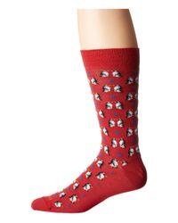 Etro - Red Kissing Penguins Socks for Men - Lyst