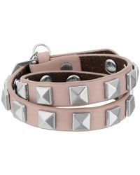 Rebecca Minkoff - Pink Double Row Leather Bracelet With Pyramid Studs - Lyst