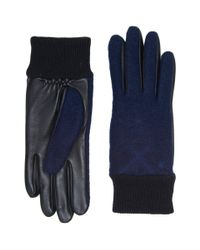 Ugg - Blue Fabric Smart Gloves With Knit Trim for Men - Lyst