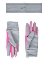 Nike - Multicolor Run Thermal Headband And Gloves Set (wolf Grey/hyper Pink/silver) Athletic Sports Equipment - Lyst