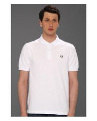 Fred Perry | White Slim Fit Solid Plain Polo for Men | Lyst