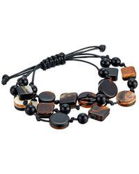 Kenneth Jay Lane - 3 Row Black/marble/tortoise Multi Shape Bracelet (black/marble/tortoise) Bracelet - Lyst