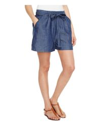 Lucky Brand - Tie Front Chambray Shorts In Blue Chambray - Lyst