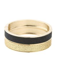 Betsey Johnson - Metallic Classic Boost Black And Gold Duo Hinged Bangle - Lyst