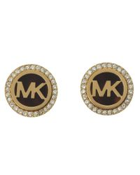 Michael Kors | Metallic Mk Logo Stud Earrings | Lyst