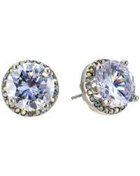 Betsey Johnson - Metallic Crystal Rhodium Crystal Stud Medium Earrings - Lyst