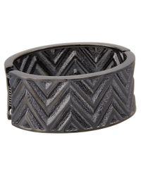 Guess | Metallic Chevron Stripe Wide Stretch Bracelet | Lyst