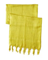 Love Quotes - Green Linen Tassel Scarf - Lyst
