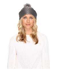UGG - Gray Quilted Fabric Hat W/ Pom - Lyst