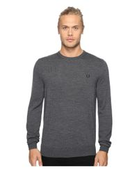 Fred Perry | Gray Classic Crew Neck Sweater for Men | Lyst