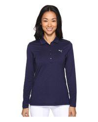 PUMA | Blue Long Sleeve Polo | Lyst