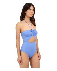 MICHAEL Michael Kors - Blue Draped Solids Halter Maillot One-piece - Lyst