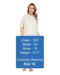 Yummie By Heather Thomson - Gray Plus Size Cotton Voile Mandarin Button Down Dress W/ Side Vents - Lyst