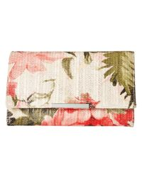 Jessica Mcclintock - Multicolor Nora Floral Straw Clutch - Lyst