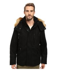 Marc New York | Black Fremont Pressed Wool Puffer Bomber W/ Removable Hood for Men | Lyst