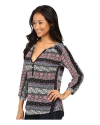 Lucky Brand - Black Mixed Stripe Top - Lyst