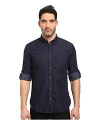 John Varvatos | Blue Slim Fit Button Down Collar Sport Shirt W/ Roll Up Sleeve And Single Chest Pocket, Short Hem Length W530s3b for Men | Lyst