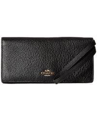 COACH | Black Pebbled Leather Slim Wallet | Lyst