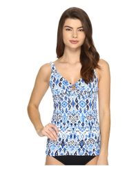 Tommy Bahama | Blue Ikat Over The Shoulder Tankini Top With Ring | Lyst