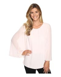 Vince Camuto | Pink Chiffon Pleated Sleeve Blouse | Lyst