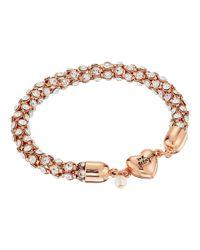 Betsey Johnson - Metallic Rose Gold/crystal Heart Magnet Bracelet - Lyst