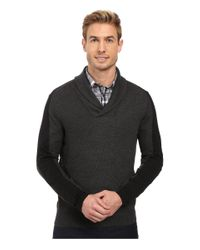 Perry Ellis - Black Color Block Shawl Collar Pullover for Men - Lyst