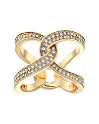 Michael Kors | Metallic Brilliance Pavé Crystal Interlock Ring | Lyst