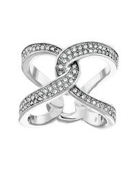 Michael Kors - Metallic Brilliance Pavé Crystal Interlock Ring - Lyst