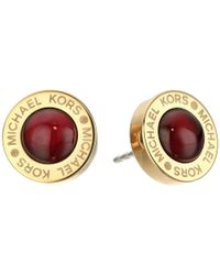 Michael Kors | Metallic Logo Garnet Mother-of-pearl Status Disc Stud Earrings | Lyst