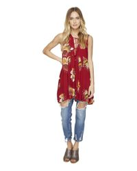 Free People | Red Lovely Day Printed Tee | Lyst