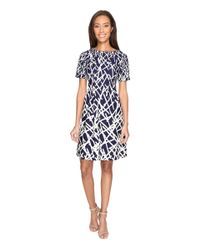 Adrianna Papell | Blue Printed Dancing Sticks Scuba Crepe No Waist Fit And Flare Dress | Lyst
