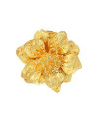 Kenneth Jay Lane | Metallic Satin Gold Flower Clip Ear Earrings | Lyst