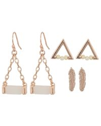 Guess | Multicolor Mini Feather Triangle And Drop Trio Set Earrings | Lyst