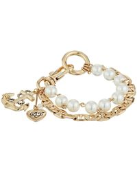 Betsey Johnson   Metallic Anchor Charm Mixed Pearl Bracelet   Lyst