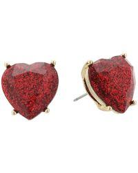 Betsey Johnson   Red Glitter Heart Stone Stud Earrings   Lyst