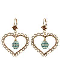 Betsey Johnson   Multicolor Heart Orbital Drop Earrings   Lyst