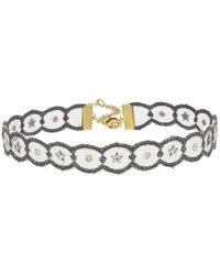 Chan Luu | Adjustable Metallic Lace Crystal Choker Necklace | Lyst