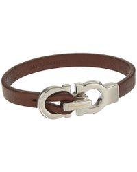 Ferragamo - Brown Doppio Gancio Leather Bracelet - Lyst