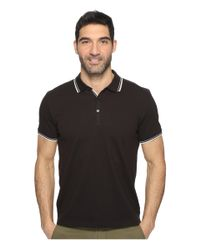 Kenneth Cole | Black Polo With Tipping for Men | Lyst