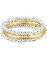 Lauren by Ralph Lauren | Metallic Perfect Pieces 3 Piece Twist And Smooth Ring Set | Lyst