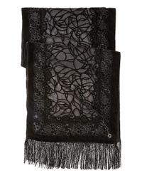 Calvin Klein - Black Velvet Burnout Wrap With Fringe - Lyst