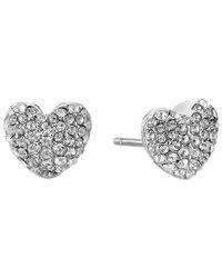 Michael Kors | Metallic Pave Hearts Tone And Crystal Heart Stud Earrings | Lyst