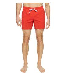 Lacoste | Red Taffeta Gingham Swim Short Length for Men | Lyst