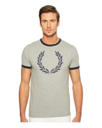 Fred Perry   Gray Laurel Wreath Ringer T-shirt for Men   Lyst