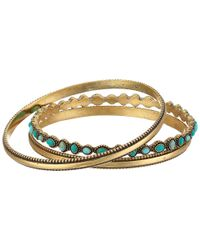 Lucky Brand - Metallic Turquoise Beaded Bangle Bracelet - Lyst
